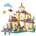 Принцесса замок строительные блоки Русалочка Ариэль принцесса Эльза Анна Золушка Белль Совместимость Lepining друзья девочки игрушки