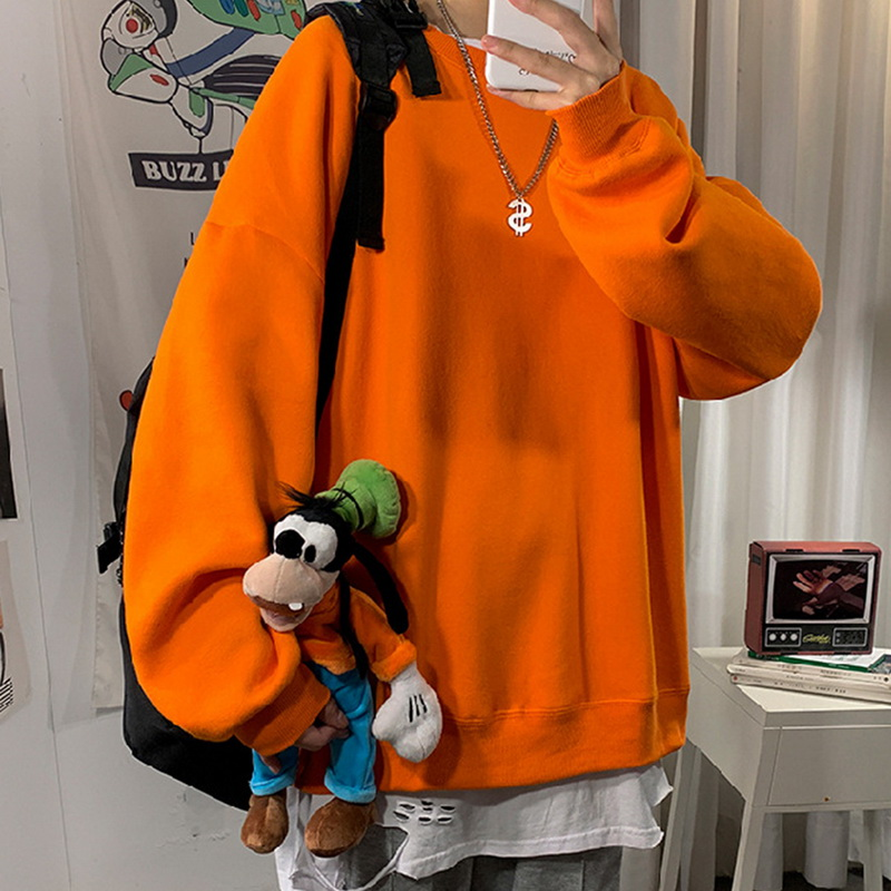 Men Sweatshirt 2020 Solid Color Spring Autumn Hoodies Causual Streetwear Clothes Round Neck Thick Warm Oversize Fashion Clothes