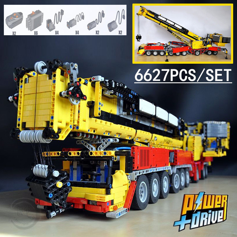 New MOC RC Power Functions Crane Ltm 1750 9.1 Fit LeGINGlys Technic Motor MOC-5721 Kit Building Blocks Bricks Diy Toy Gift
