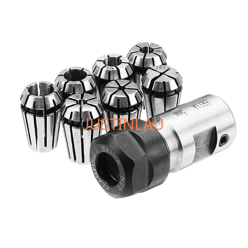 JUSTINLAU 7Pcs ER11 1-<font><b>7mm</b></font> Spring Collet Set With ER11A 5mm Extension <font><b>Rod</b></font> Motor Shaft Holder High Grade 45 Carbon <font><b>Steel</b></font> image