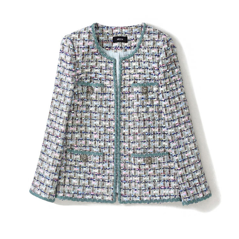 Handmade Luxury Blazer Suits For Women Fashion O Neck Tweed Color Matching Green Nine Points Sleeve Short Loose Blazers Coat