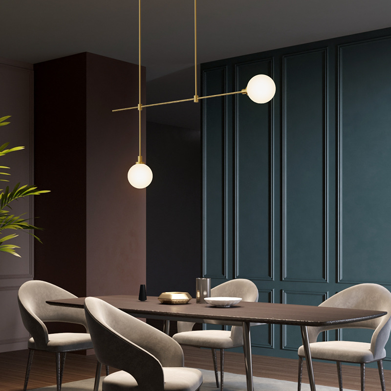 Image 3 - Modern dining room copper LED chandelier Nordic living room hanging lamp bedroom lights study glass ball lighting fixtureChandeliers   -