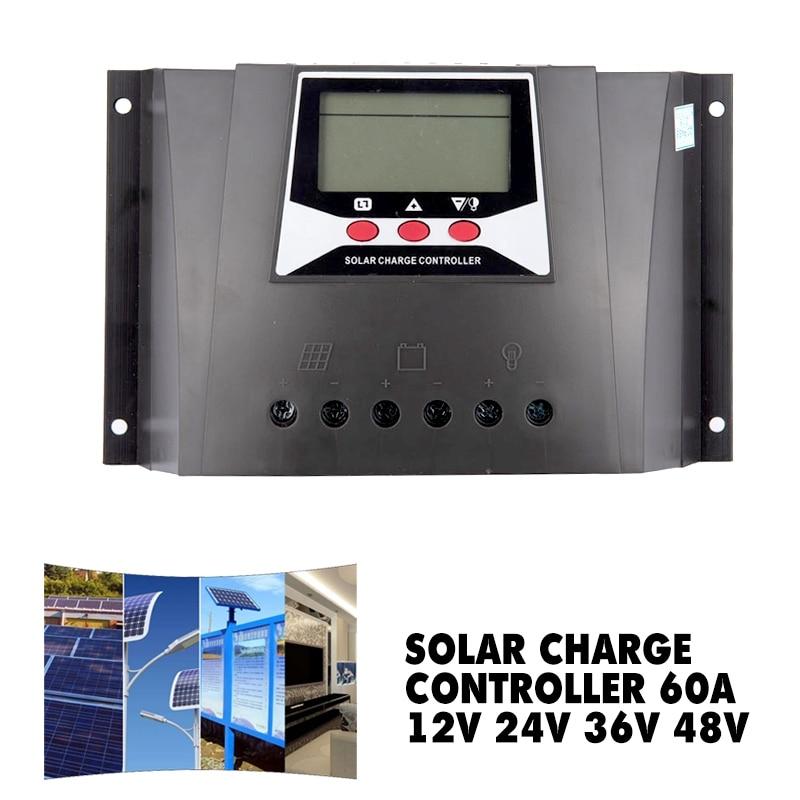 Solar Power Solar Charge Controller 60A 12V 24V 36V 48V Auto Max 100V PV Input PWM Regulator For Electrical Equipment Supplies
