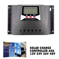 Solar Power Solar Charge Controller 60A 12V 24V 36V 48V Auto Max 100V PV Input PWM Regulator For Electrical Equipment Supplies