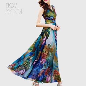 黄色、青花柄ボヘミアンドレス夏フィットウエスト flare ロングシフォンビーチホリデーサンドレス vestidos mujer ローブ LT1474