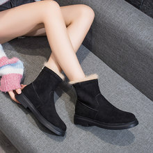 2019 New Fashion Women's Flock Ankle Boots Handmade Slip-on mujer boots women Med Heels Solid Snow Boots Round Toe bota feminina(China)