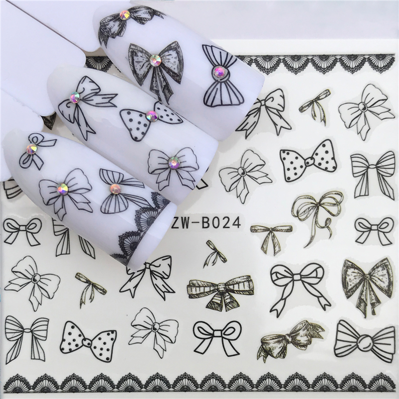 WUF New Design 1 Sheet Black Color Bow Tie Shape Sliders Decal DIY Adhesive Decoration Sticker Nail Accessory Tips