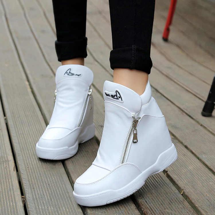 Mùa thu đông thời trang Giày Giày đế xuồng Nữ Pha Lê nền tảng Giày Nữ Giày Nữ Casual Nền Tảng Giày cao gót Giày Bốt Nữ