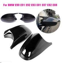 Capas de Espelho retrovisor para Bmw E81 E82 E87 116i 118i 120i E88 E90 E91, E92 E93 320i 330i 330d Gloss Fibra De Carbono Preto