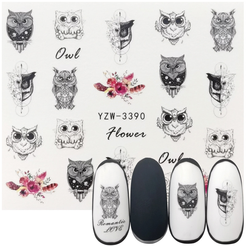 1 Sheet Nail Polish Accessories Watermark Sticker Retro Black Owl Series Water Transfer Decals Manicure Tattoos Foils Slider