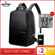 BOPAI z zabezpieczeniem przeciw kradzieży plecak na laptopa USB Charge mężczyźni skórzany plecak podróżny wodoodporny plecak mężczyźni tornister kobiety mochila escolar