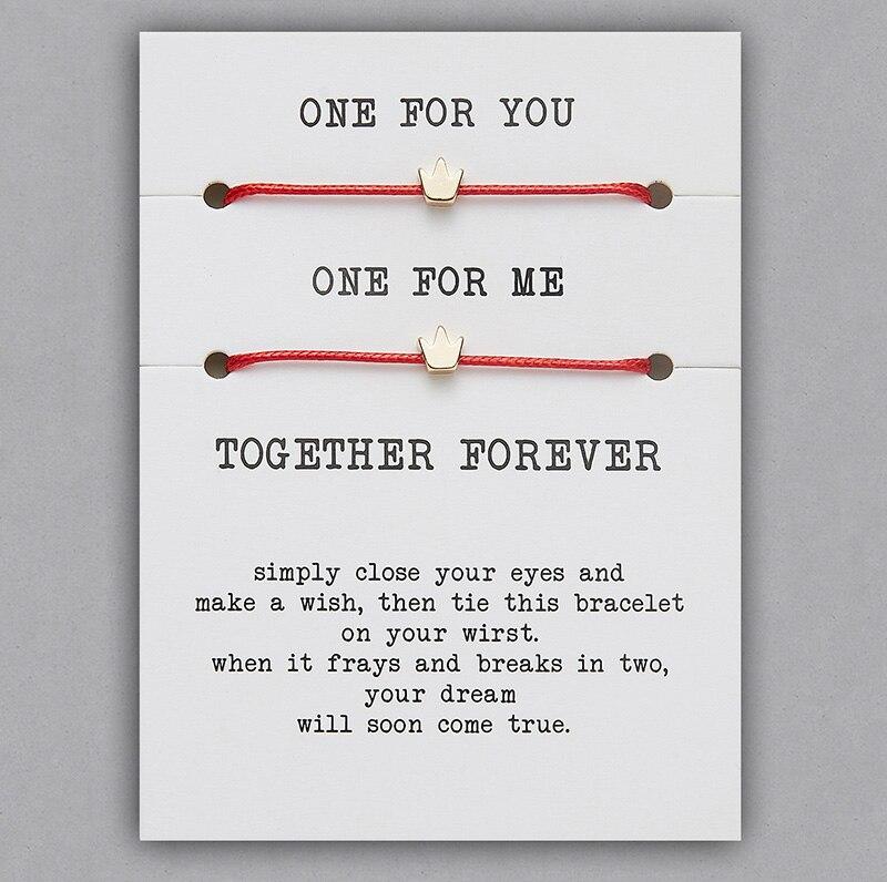 2 шт./компл. Сердце Звезда браслеты с крестообразной подвеской один для вас один для меня красная веревка плетение пара браслет для мужчин женщин карточка пожеланий - Окраска металла: BR18Y0714-2