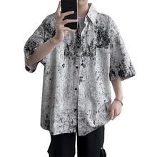 Мода цвет рендеринг короткие рукав отложной воротник мужские свободные повседневные топ рубашка