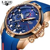 Novo cronógrafo relógio de quartzo dos homens lige silicagel cinta data relógio de pulso masculino luminoso à prova dwaterproof água relógios relogio masculino|Relógios de quartzo| |  -