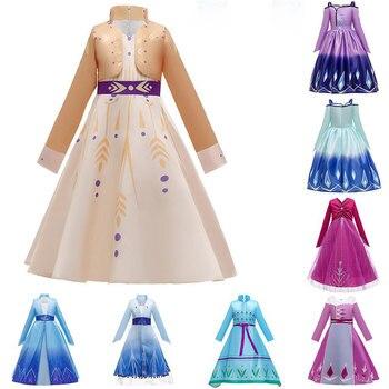 Frozen 2 cosplay Anna Elsa 2 Princess Dress Kids Dresses For Girls Chrismas Party Dresses Girl Wedding Gowns Vestido 6 8 10 Year