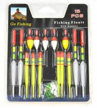 15Pcs Long Tail Fishing Throw Floats Mix Size Floating Bobbers Set 5g