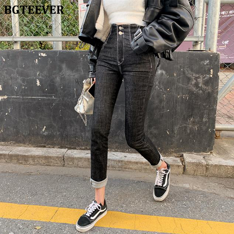 BGTEEVER High Street Stretch Black Jeans for Women High Waist Pockets Buttons Women Denim Jeans Long Denim Pants 2020 Women Women's Clothings Women's Jeans cb5feb1b7314637725a2e7: black