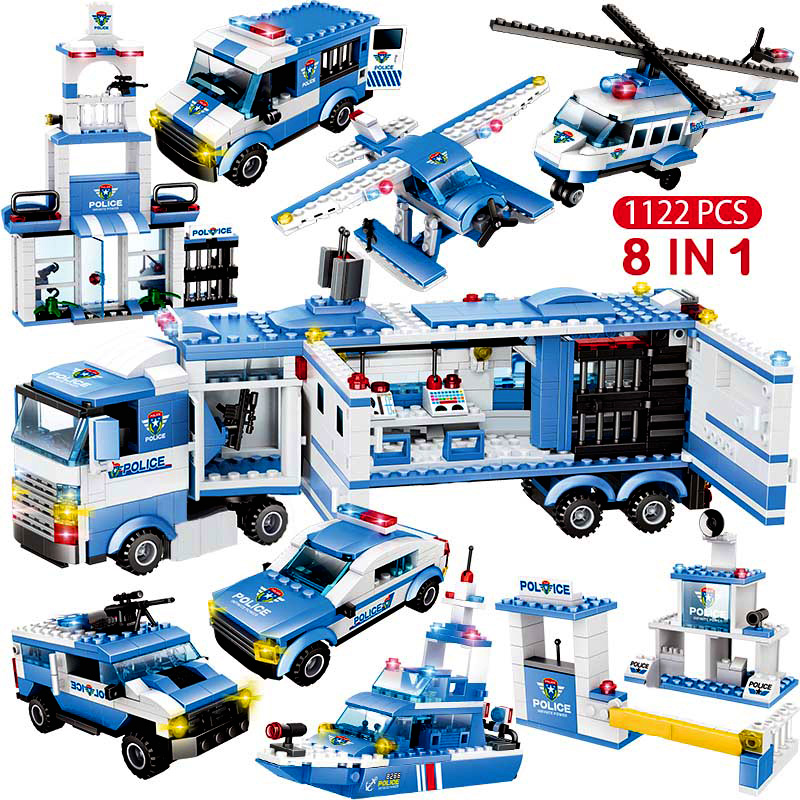 1122pcs 8IN1 SWAT City Police Truck Car Building Blocks Compatible  City Police Station Bricks Toys For Boys Children