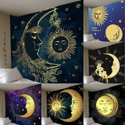 Солнце и луна Psychedelic труба гобелен в стиле бохо, декоративный настенный фон для спальни, Настенный декор