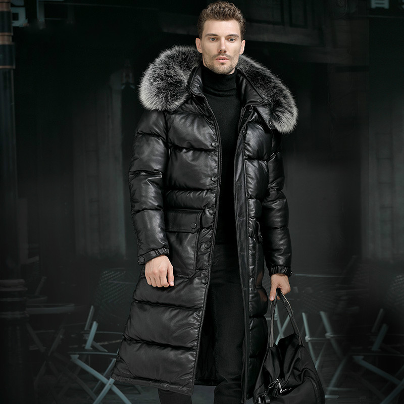 Minus 40 Degrees Celsius Warm Top Layer Cowhide Genuine Leather Jacket Men X-Long Duck Down Leather Coat Real Fur Hooded Coats