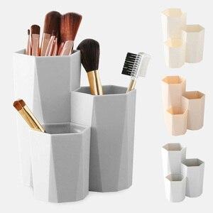 3 Lattices Box Cosmetic Make-up Brush Storage Box Table Organizer Makeup Nail Polish Cosmetic Holder Make Up Tools Pen Storage
