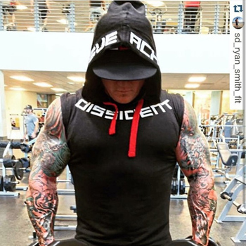 Muscle men Brand Gyms Clothing Fitness Men Tank Top hooded Mens Bodybuilding Stringer Tanktop workout Singlet Sleeveless Shirt 4