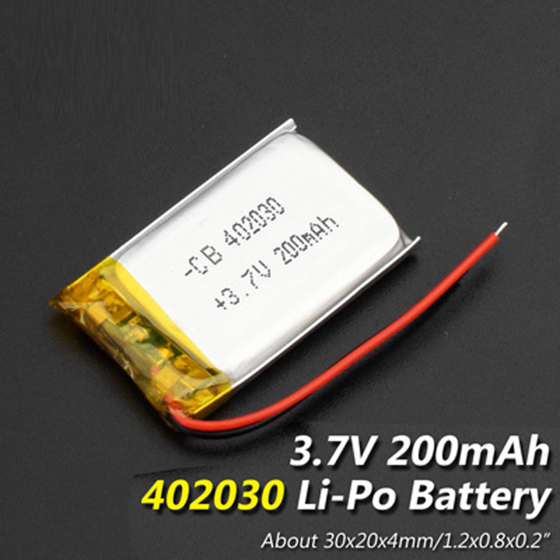 <font><b>3.7V</b></font> Size 402030 <font><b>200mAh</b></font> li-ion <font><b>Lipo</b></font> cells Lithium Li-Po Polymer Rechargeable <font><b>Battery</b></font> For Bluetooth GPS MP3 MP4 Recorder <font><b>Battery</b></font> image