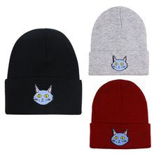 Women Men Knitted Skullies Beanies Hat Harajuku Cute Cartoon Meow Cat Embroidery Winter Student Sport Snow Ski Warm Cuffed Cap