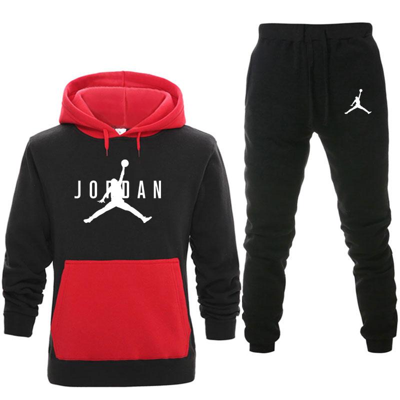 New Men Hoodies Suit Fleece Warm Jordan 23 Tracksuit Men Sweatshirt Suit Hoodie+Sweat Pants Jogging Homme Hooded Tracksuit 3XL