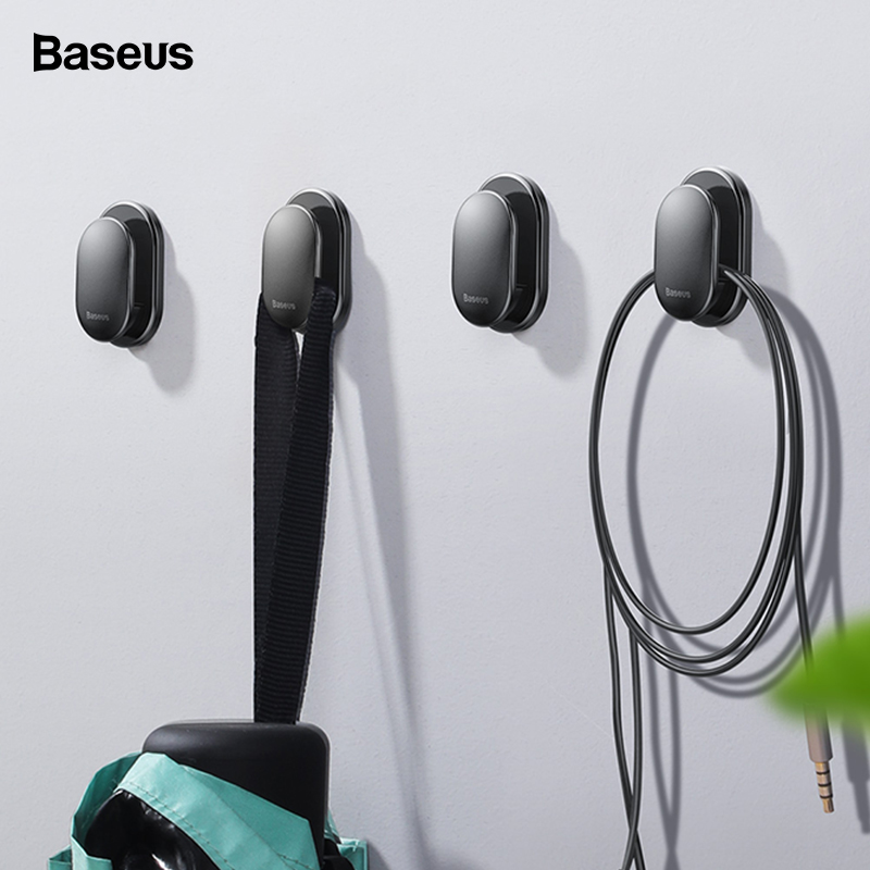 Baseus 4PCS Cable Organizer USB Cable Clip Management Protector Cable Winder Suction Sup Wall Hooks Hanger Car Sticker Holder