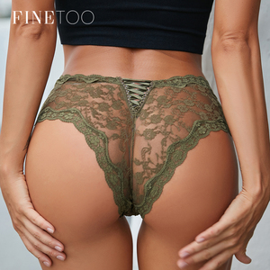 FINETOO Sexy Panties Transparent Floral Underwear Women Briefs Hollow Out Lace Underpants Lingerie Female Webbing Intimates M L