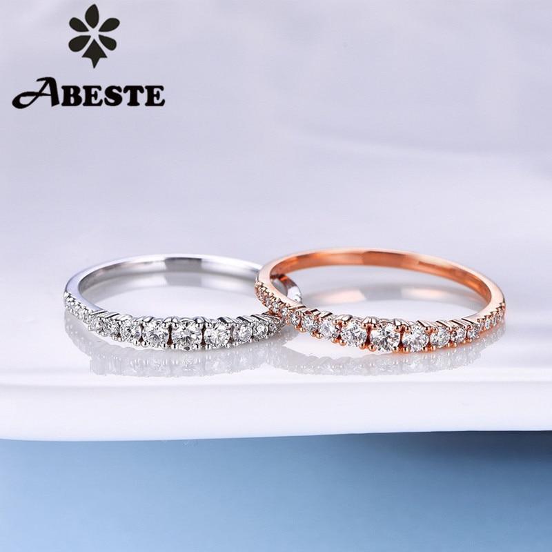 ANI 18K or blanc/Rose (AU750) bague de mariage 0.24 CT anneaux en or anillos mujer bague de mariage véritable diamant naturel pour les femmes