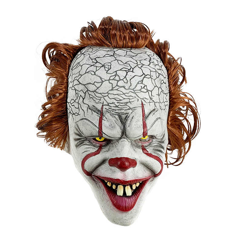 Hot Movie Stephen King's 2 Joker Pennywise Maschera Pieno Viso Horror Clown Maschera In Lattice Del Partito di Halloween Maschera Spaventosa cosplay Oggetti di Scena