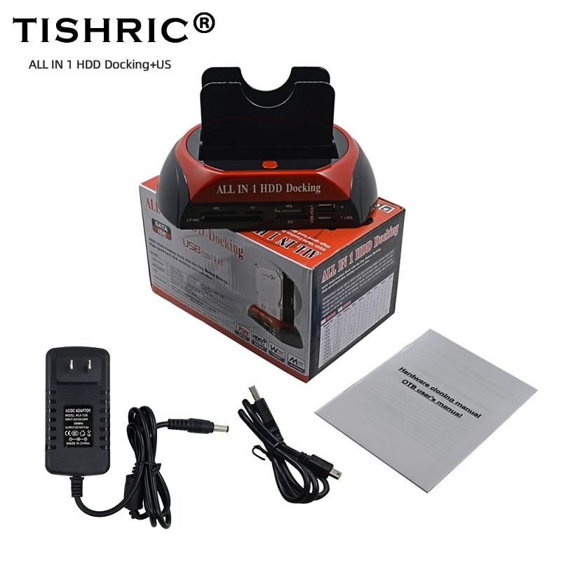 TISHRIC US All In 1 External Dual Hard Disk Drive Hdd Dock Docking Station HD Reader USB IDE SATA Box Enclosure Case For 3.5 2.5