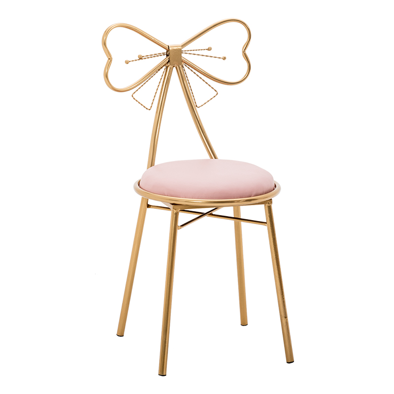 Modern Bow-knot  Golden Bar Stool Iron Bar Chair Beauty Salon Furniture Nordic Princess Bow Modern Barstool