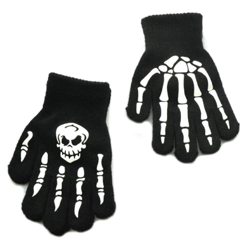 Unisex Adult Halloween Skeleton Skull Half Finger Gloves Luminous Winter Mittens AXYD