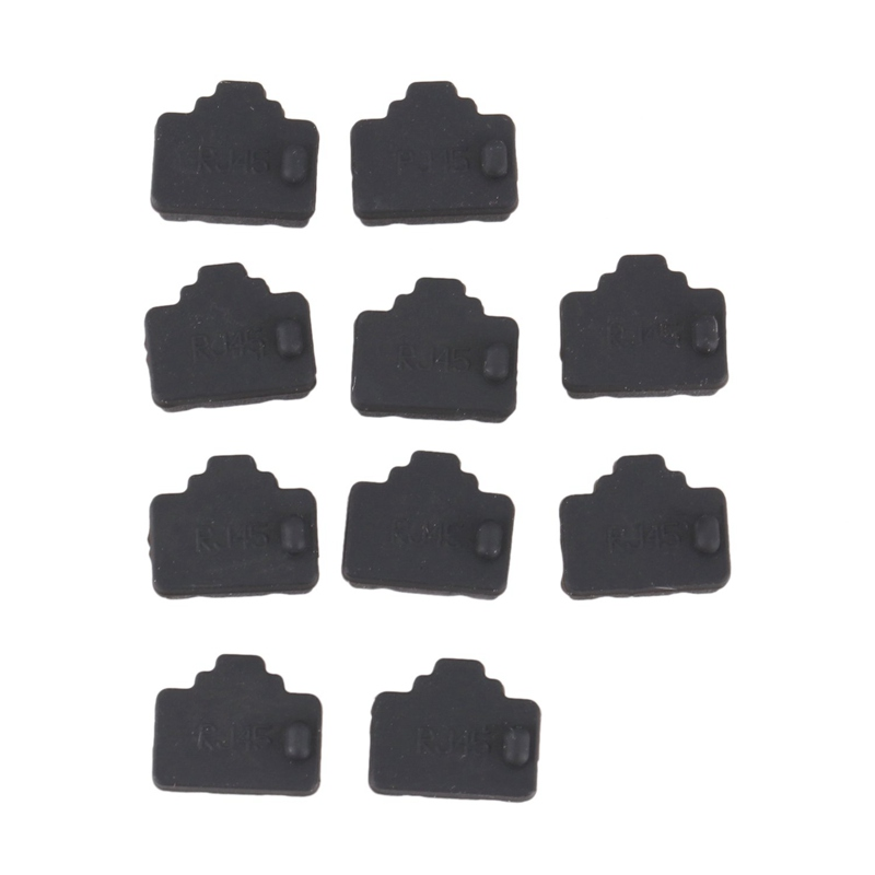 Ethernet Hub Port RJ45 Anti Dust Cover Cap Protector Plug 10Pcs Black