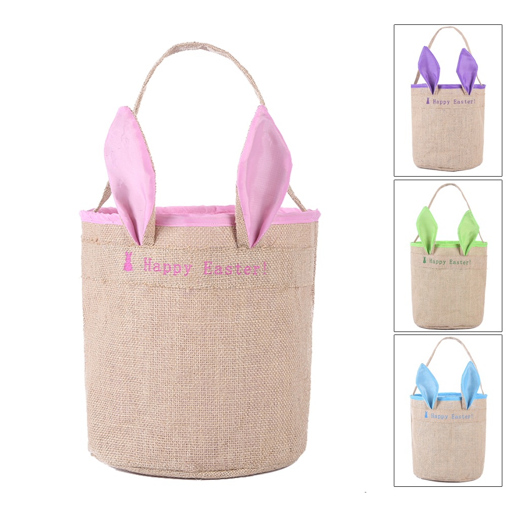 1pcs Easter Canvas Bunny Ear Rabbit Gift Bags Easter Ears Bags Kids Gift Easter Basket Candy Cookie Gift Basket Blue
