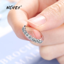 Open-Ring Zircon Fashion Jewelry Crystal 925-Sterling-Silver Retro Simple Adjustable