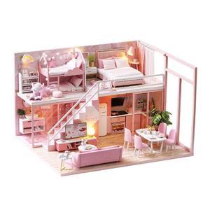 Самодельный домик креативная деревянная комната карманная миниатюрная кукла Собранный дом Вилла Модель деревянная игрушка ручной работы ...
