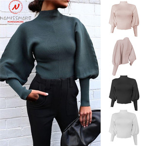 Elegant Women Solid Color Sweaters High Collar LanternLong Sleeve High Collar Loose Knitted Pullovers Top for Streetwear