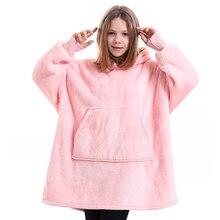 Kinder Plaid Decke Hoodie Warme Weiche Tragbare Fleece Decke Mit Ärmeln Winter Dicke Plüsch Faul Gewichteten TV Sofa Decke Mit Kapuze