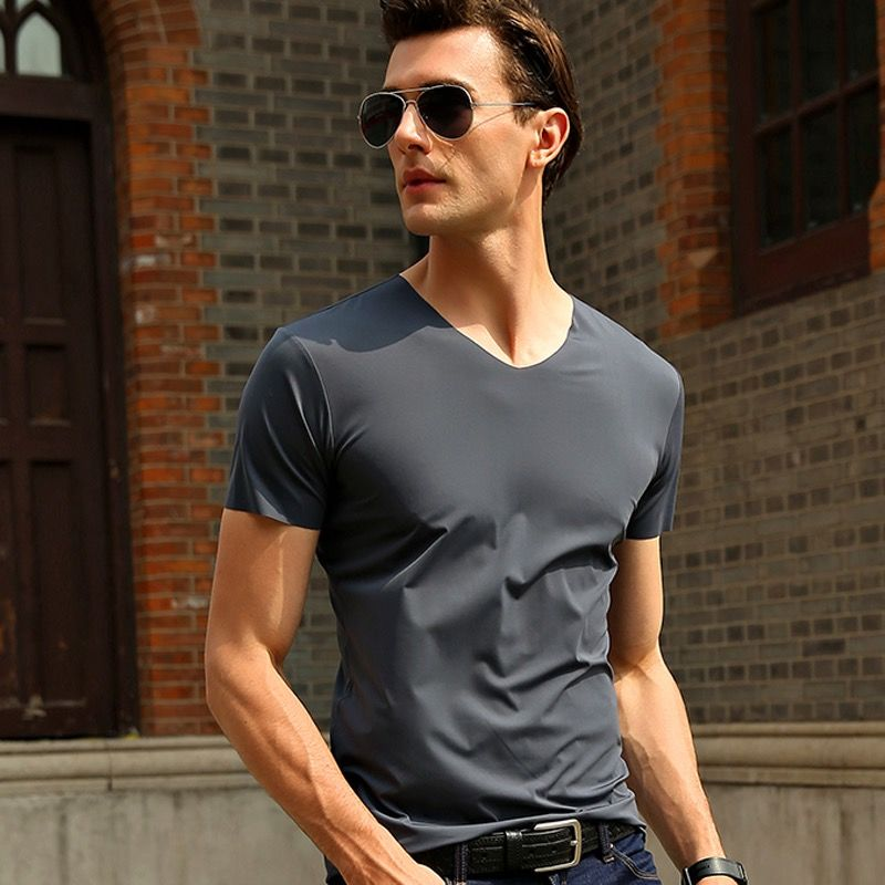 2020 New style mens short sleeve summer t shirt slim fit cotton V collar t shirts for men Big size to 4XL 5XL men's fitness Tees