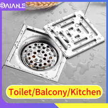 Stainless Steel Floor Drain Washing Machine Tile Insert Bathroom Shower Cover Anti-odor Waste Grates