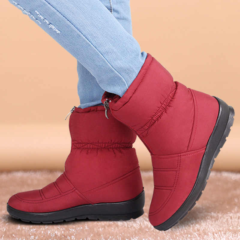 Ankle Boots For Women Winter Boots Plush Warm  Snow Boots Female Winter Shoes Booties Waterproof Women Boots Mother Shoes 2019