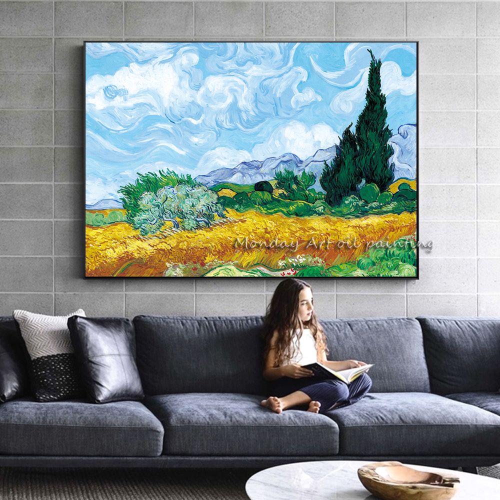 AAA Wheatfield-With-Cypresses-By-Van-Gogh-Painting-Replica-On-The-Wall-Impressionist-Landscape-Wall-Art-Canvas (1)副本