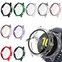 Case+Glass For Samsung Galaxy Watch Active 2 44 40mm Cover Bumper Accessories Protector Full Coverage Matte Screen Protection