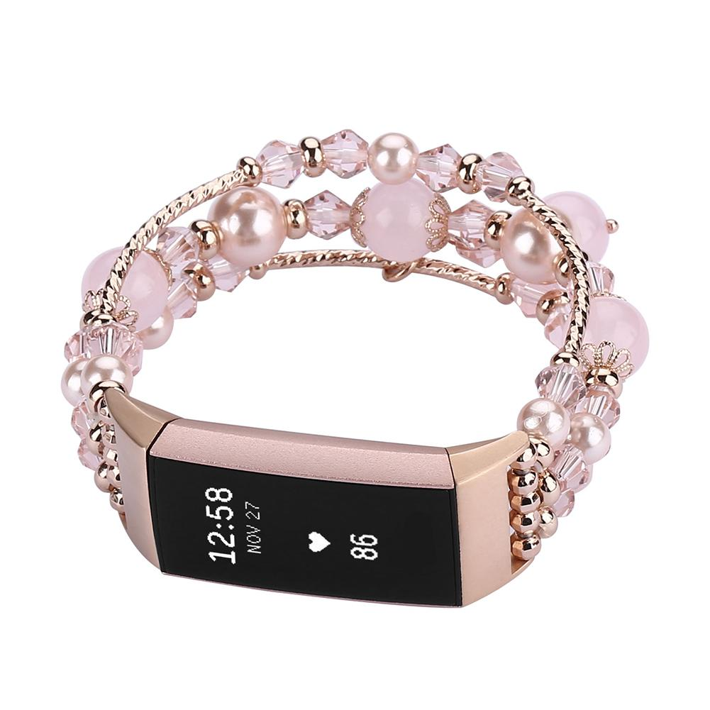 New Women Watch Band Fashion Agate Jewelry Bracelet Wristband  Stainless Steel Bracelet Watch Strap Fit For Fibit Charge 3 Watch