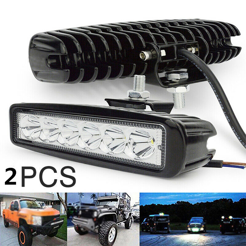 2pcs 12V-24V 18W Car Truck 6 LED Work Light Bar DRL Driving Fog Flood/Spot Beam 1260LM 6500K Truck Off-road Working Light