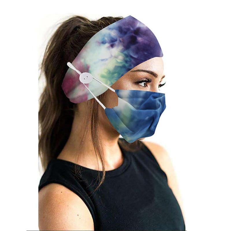 2Pcs/set button head band mask turban hair accessories soft yoga sports elastic hair band fashion hair band with mask unisex 2